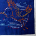 Art quilt, wall hanging or table topper, Asian inspired Sashiko style embroidere