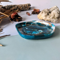 Blue and Copper Resin Ring Platter | Epoxy Resin Jewelry Small Dish | Statement