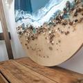 Ocean Resin Artwork | Beach Look Art Wall Hanging | Feature Abstract Ocean Resin