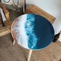 Ocean Resin Coffee Table | Beach Look Art Side Table | Feature Artistic Resin En