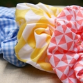 Scrunchies - bright patterns, blue yellow and pink