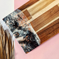 Long Wooden Resin Art Cheese Board | Wooden Chopping Board with Neutral Resin De