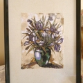 """""""Irises in a Vase"""" Framed Embroidered Picture"""