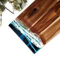 Ocean Resin Cheese and Chopping Board | Long Beach Look Wooden Board for Housewa