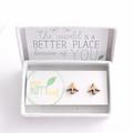 Aeroplane stud earrings - plane earrings, travel jewellery, plane studs, gift fo