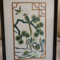 """Japanese Theme"" set of 4 Framed Embroidered Pictures"