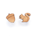 Squirrel and nut stud earrings - Spring jeweller - cute earring studs, laser cut