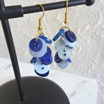 Colourful long button dangling statement earrings ( Blue , Tropical Hippie Boho