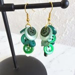 Colourful long button Cluster statement earrings ( Green , Woodland Boho Gypsy )