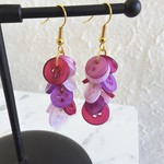 Colourful long button Cluster statement earrings ( Purpl , Funky Cute Kawaii )