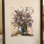 """Irises in a Vase"" Framed Embroidered Picture"