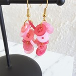 Colourful long button dangling statement earrings ( Pink , Cute Kawaii Funky )