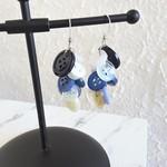 Unique long button Cluster statement earrings ( Blue White , Modern Art deco )