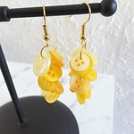 Colourful long button Dangle statement earrings ( Yellow , Modern Cute Kawaii )