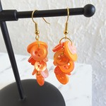 Colourful long button Dangle statement earrings ( Orange , Boho Cute Kawaii )