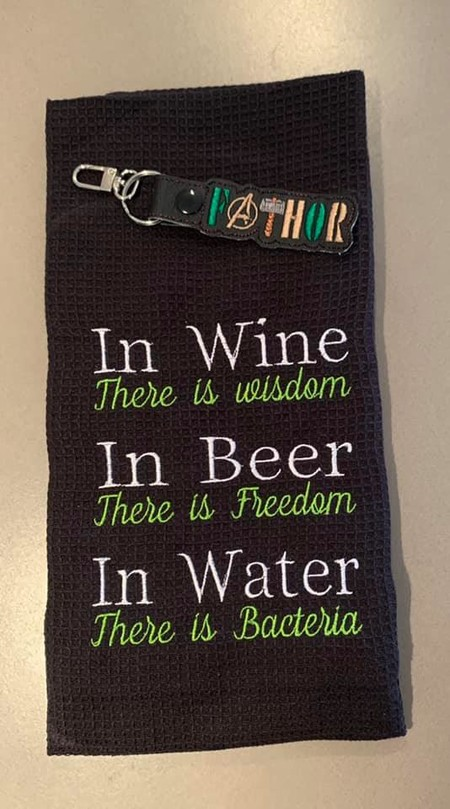 Fathers Day Gift - Embroidered Tea Towel and FATHOR Key Ring Combo