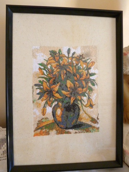 """""""Daylilies in a Vase"""" Framed Embroidered Picture"""