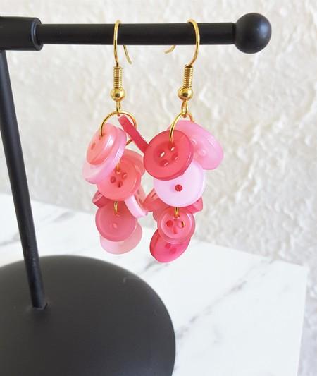 Colourful long button dangling statement earrings ( Pink , Cute Kawaii Funky )