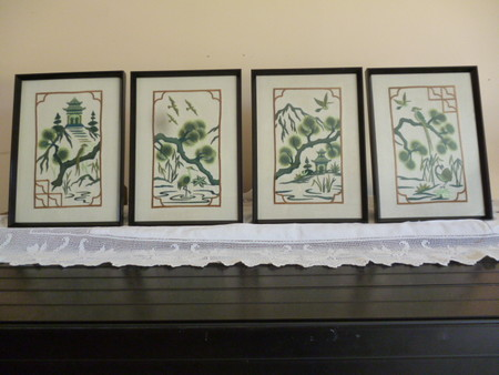 """""""Japanese Theme"""" set of 4 Framed Embroidered Pictures"""