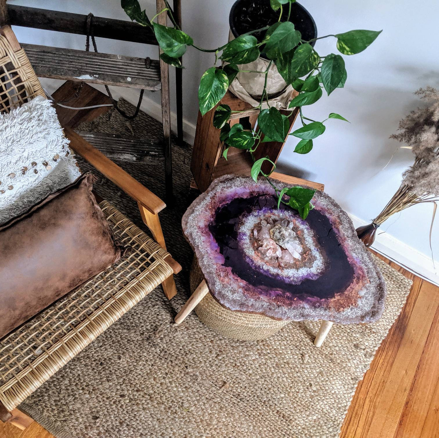Crystal Geode Resin Art Coffee Table Real Rose Quartz And Clear Quartz Art Sid The Fifth Design On Madeit