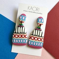 Polymer clay earrings, statement earrings in colourful pop art print
