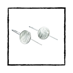 LUNA II Solid Sterling Silver Disc Textured Threader Earrings