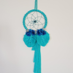 Gorgeous Aqua shell and rose Dreamcatcher