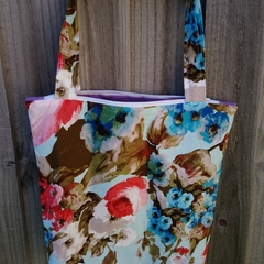 Lined tote bag with zip - Floral