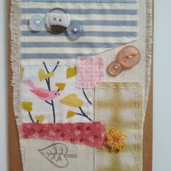 Blank Greeting Card - Fabric collage - Mixed media art