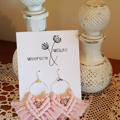 Blush Pink Macrame Earrings, With Sterling Silver Hooks.