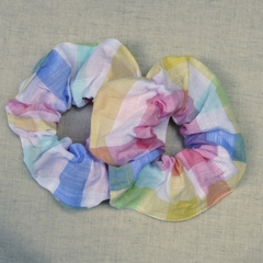 Soft Scrunchies - colourful checkered muslin cotton