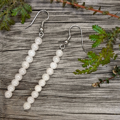 White Stone Column Earrings