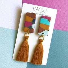 Polymer clay tassel earrings, statement earrings in painterly colour splash