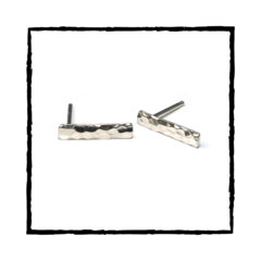 KORA Solid Sterling Silver Hammered Bar Earrings