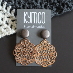 Pewter + rose gold lace dangle earrings