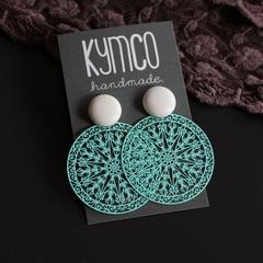 White + turquoise circle earrings