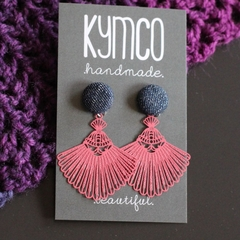 Denim + Pink Tassle earrings