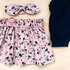 Size 1 - Skirt - Floral - Dusty Pink -  Retro - Cotton