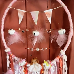 Dream Catcher Rose Quartz Crystal Bells Pink Rose Gold Baby Bunting Unicorn Girl
