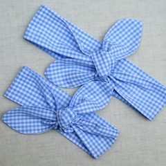 Cotton Headbands - pale blue gingham