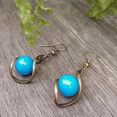Blue Stone Twist Earrings