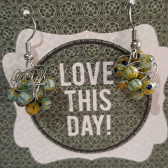 Funky stone and wire Earrings