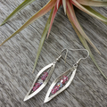 Pink Crystal Leaf Earrings