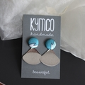 Teal + silver scallop earrings