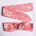 Pink and white headband, 60s flowers - kids and adults size
