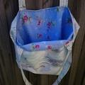 Lined tote bag - light blue & floral