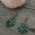 Turquoise and Brass Chandelier Earrings