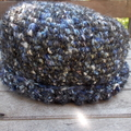crocheted hat with fold up edge, acrylic yarns.  ON SALE!!!