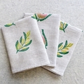 Australian Golden Wattle Linen Tea Towel Linocut Print