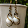 White Stone Twist Earrings